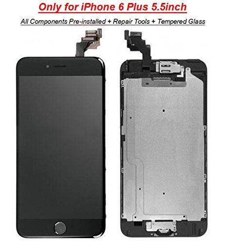 iPhone 6 Plus LCD Screen Replacement Digitizer Assembly with Proximity Sensor + Ear Speaker + Front Camera + Home Button + Screen Protector + Repair Tools - Not fit for iPhone 6S Plus (Black)