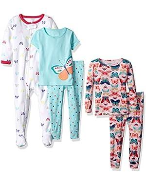 Baby-Girl 5-Piece Cotton Snug-Fit Pajamas