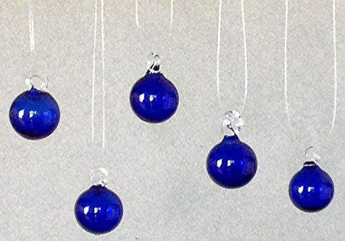 - Hand Blown Glass Cobalt Blue Mini Christmas Tree Ornaments, Set of Five