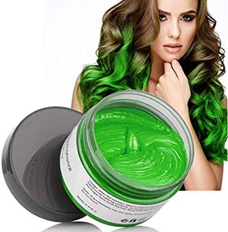 MOFAJANG Hair Color Wax Styling Cream Mud, Temporary Hair Dye Wax, Natural Hairstyle Dye Pomade for Party Cosplay, Halloween, 4.23 OZ, Green