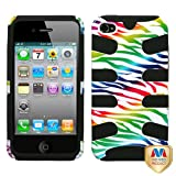 Cell Accessories For Less (TM) Apple iPhone 4S Colorful Zebra /Black Fishbone Phone Case Cover Bundle (Stylus & Micro Cleaning Cloth) - By TheTargetBuys