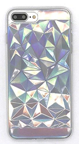 Holographic Iridescent Card Paper + 3D Geometric Triangle Diamond Transparent Clear TPU...