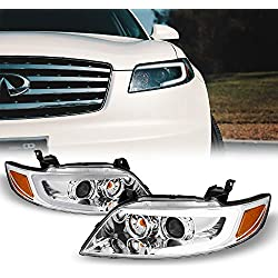 [C-Style] [Chrome] 2003-2008 FX35 FX45 LED DRL Switchback Turn Signal Projector Headlights