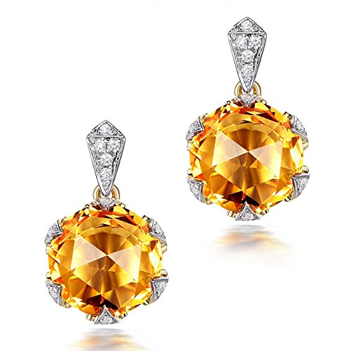 Fashion Beauty Anniversary Yellow Citrine Rose 14K Gold for Lady Dating Engagement Stud Diamond Earrings Set by Kardy