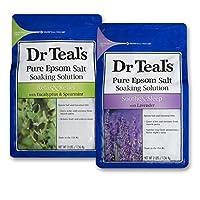 Solución de remojo de sal Epsom del Dr. Teal, eucalipto y lavanda, 2 bolsas de 3 unidades - 3 libras, 6 libras en total