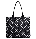 Nylon Water Resistant Multi Pockets Large Lightweight Tote Bag Shoulder Bag Waterproof Handbags (BlackRhomb HB)