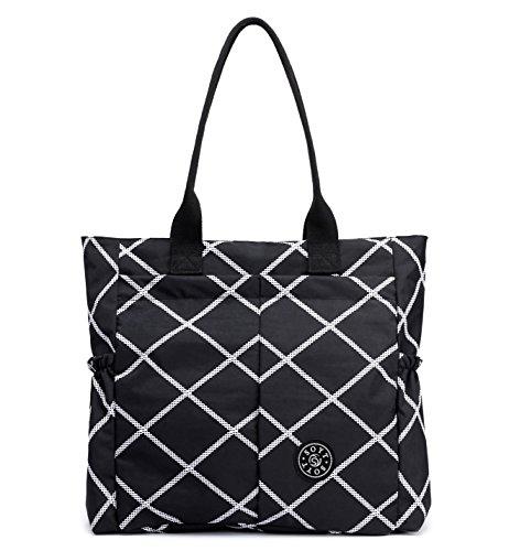 Nylon Water Resistant Multi Pockets Large Lightweight Tote Bag Shoulder Bag for Gym Hiking Picnic Travel Beach Waterproof Tote Bags (Black Rhomb HB)