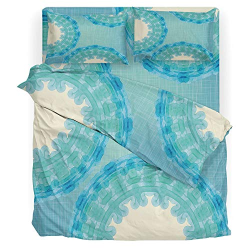 9880 Light - Aqua Baby Bedding Sets for Boys Tie Dye Mandala Ombre Image with Circles Rounds Indian Decorative Printing Four Pieces of Bedding Set Turquoise Light Blue Navy Blue and Seafoam