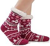 women's fuzzy cozy soft warm fleece lined winter slipper socks christmas with non slip grippers (us