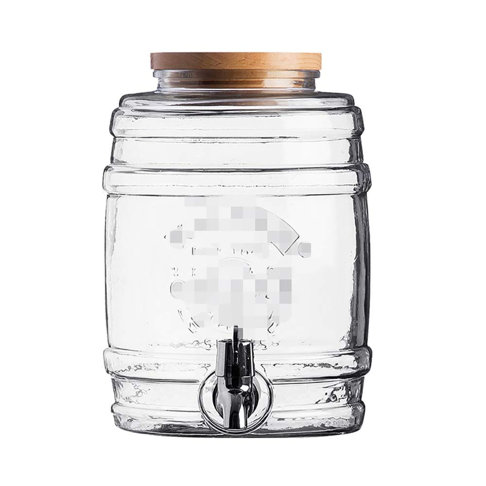 Jiu Si- ワイン樽 - 蛇口の世帯のヨーロッパの輝く密封缶飲料バーレトロワイン樽-1 L、3.5 L、5 L、8 L ワイン樽 (色 : 5LWooden cover) B07R337T35 5LWooden cover