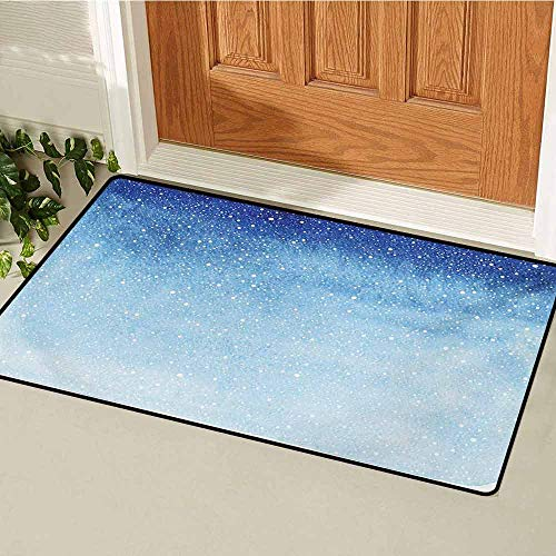 GUUVOR Winter Universal Door mat Falling Snow Splashes Stains Watercolors Shades of Blue Abstract Christmas Inspired Door mat Floor Decoration W35.4 x L47.2 Inch Blue White