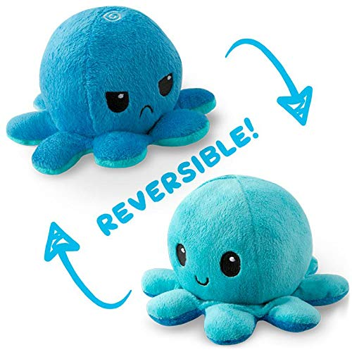 TeeTurtle Reversible Octopus Mini Plush - Stuffed Animal Toy, Light Blue/Dark - Toy Mini Stuffed