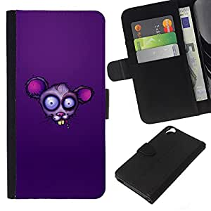[Neutron-Star] Modelo colorido cuero de la carpeta del tirón del caso cubierta piel Holster Funda protecció Para HTC Desire 820 [Purple Rat Face]