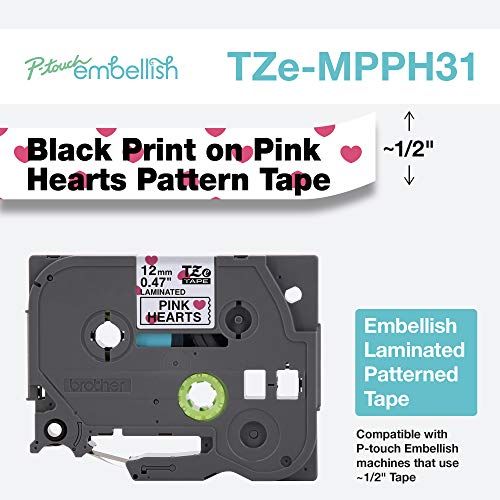 - Brother International Brother P-Touch Embellish Black Print on Pink Hearts TZEMPPH31 Pattern Tape,