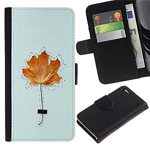Apple iPhone 4 / iPhone 4S Modelo colorido cuero carpeta tirón caso cubierta piel Holster Funda protección - Maple Leaf Kids Class School Autumn Fall