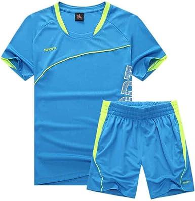 IOSHAPO Equipo de niños Adultos Camisa Deportiva de Manga Corta para Hombres Hombres de Secado rápido Camisetas para Correr Ropa Deportiva Ropa de fútbol para Hombre Set: Amazon.es: Ropa y accesorios