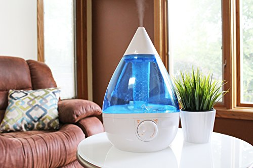 Crane USA Humidifiers - Blue and White Drop Ultrasonic Cool Mist Humidifier - 1 Gallon Adjustable Mist Output, Automatic Shut-off, Whisper-Quiet Operation, for Home Bedroom Office Kids Baby Nursery