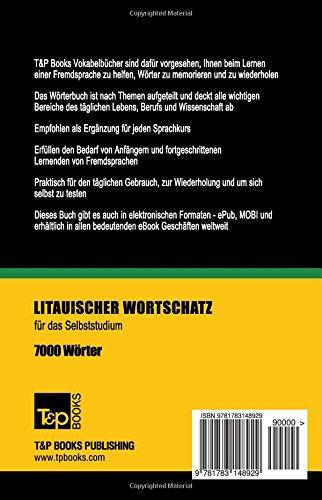 Litauischer Wortschatz für das Selbststudium - 7000 Wörter (German