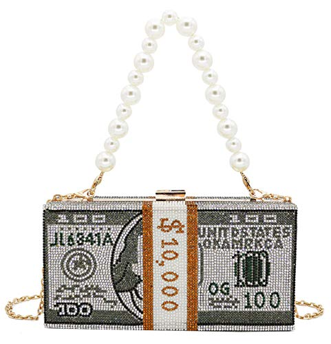 Unique Rhinestone Money Purse Evening Bag Large Crystal Clutch Dollar Box Diamond Handbag