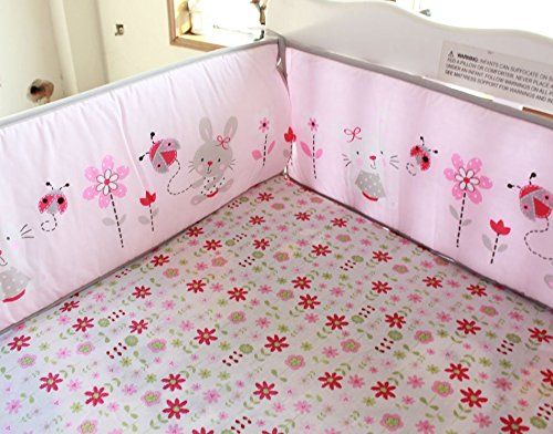 NAUGHTYBOSS Girl Baby Bedding Set Cotton 3D Embroidery Rabbit Flowers Insects Quilt Bumper Mattress Cover Bedskirt 7 Pieces Set White Pink by NAUGHTYBOSS (Image #4)