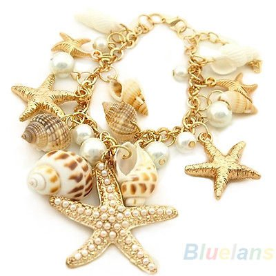 (Ocean Multi Starfish Sea Star Conch Shell Pearl Chain Beach Bracelet Trendy B54U)