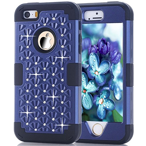 iPhone 5SE / 5S Case, XRPow Studded Rhinestone Crystal Bling 3 in 1 Hybrid Impact Shockproof Armor Cover Silicone + Hard PC Case for iPhone 5 5S 5SE(Blue Black)