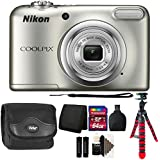 Nikon COOLPIX A10 16.1 MP Digital Camera (Silver) + 64GB Memory Card + Wallet + Reader + Camera Case + 3pc Cleaning Kit + Flexible Tripod