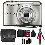 Nikon COOLPIX A10 16.1 MP Digital Camera (Silver) + 64GB Memory Card + Wallet + Reader + Camera Case + 3pc Cleaning Kit + Flexible Tripod For Sale