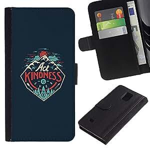 KingStore / Leather Etui en cuir / Samsung Galaxy Note 4 IV / Ley de Bondad Cartel inspirado
