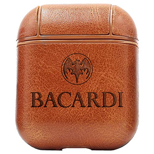 Logo Bacardi (Vintage Brown) Engraved Air Pods Protective Leather Case Cover - a New Class of Luxury to Your AirPods - Premium PU Leather and Handmade exquisitely by Master Craftsmen ()