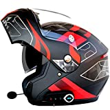 Oeyal Full Face Motorcycle Street Bike Helmet Anti-Fog Flip up Dual Visors Motorcross Helmets with w/Bluetooth, MP3, GPS (XX-Large, Matte Black-Red)