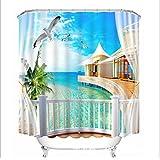 Beach Villa 3D Digital Shower Curtain Personalized Printing Hook Fabric Mildew Waterproof Visor Bathroom Shower Curtain Polyester Bath Curtain(59.06In-78.74In),64.96In*70.87In