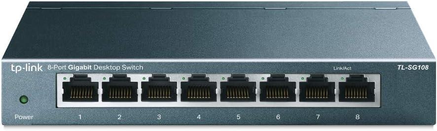 TP-Link TL-SG108 V3.0, Switch de Escritorio Red (10/100/1000 Mbps, Carcasa de Acero, IEEE 802.3 X, Auto-MDI/MDIX, Plug and Play, Ahorro de Energía, Puertos RJ45, Fácil de Usar), 8 Puertos Gigabit