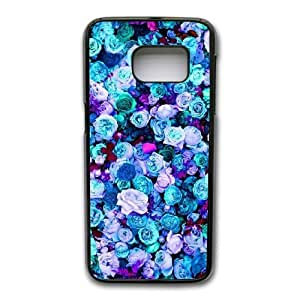 Wunatin Hard Case ,Samsung Galaxy S7 Cell Phone Case Black Mint blue lilac teal pink peonies roses floral [with Free Tempered Glass Screen Protector]BA--95147