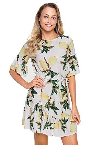 HOTAPEI Womens Casual Summer Fruit Floral Pattern Ruffle Hem Short Sleeve Bohemian Mini Short Chiffon Dress XX-Large ()