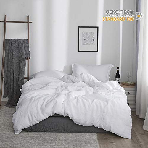 Simple&Opulence 100% Linen Stone Washed 3pcs Basic Style Solid Duvet Cover Set (King, White) Duvet Cover Set Stone
