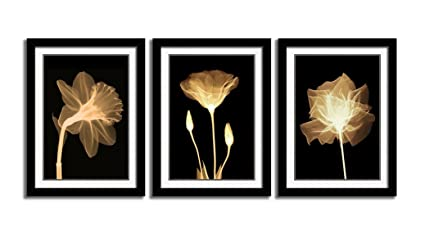 Hlj Art 3 Panels Black Frames Giclee White Mat Artworks Black White And Gold Wall Art Canvas Prints Decor Framed Flowers Painting Poster Printed On