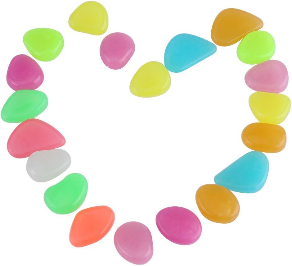 Fdit 20 Piezas Piedras Luminosos de Colores Brillantes Resplandor Acuario Oscuro Piedras Decorativas para Acuario Tanque Jardín
