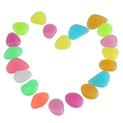 Fdit 20 Piezas Piedras Luminosos de Colores Brillantes Resplandor Acuario Oscuro Piedras Decorativas para Acuario Tanque