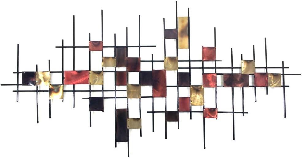 Nuevo - pared de metal escultura de ar - Mapa cuadriculado abstracto quemado subrráneo grande