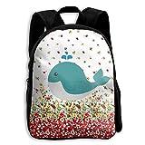 Cute Whale Kids Backpacks Double Shoulder Print School Bag Travel Gear Daypack Gift