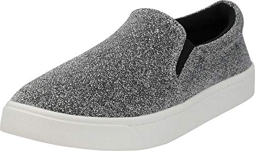 (Cambridge Select Women's Classic Round Toe Stretch Slip-On Flatform Fashion Sneaker,9 M US,Gunmetal)