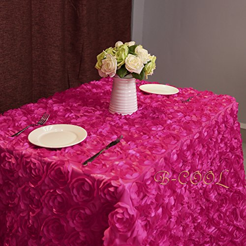 B-COOL Rose Pattern Tablecloth 3d floral tablecloth Rosette Florals Satin Rectangular Tablecloths 60