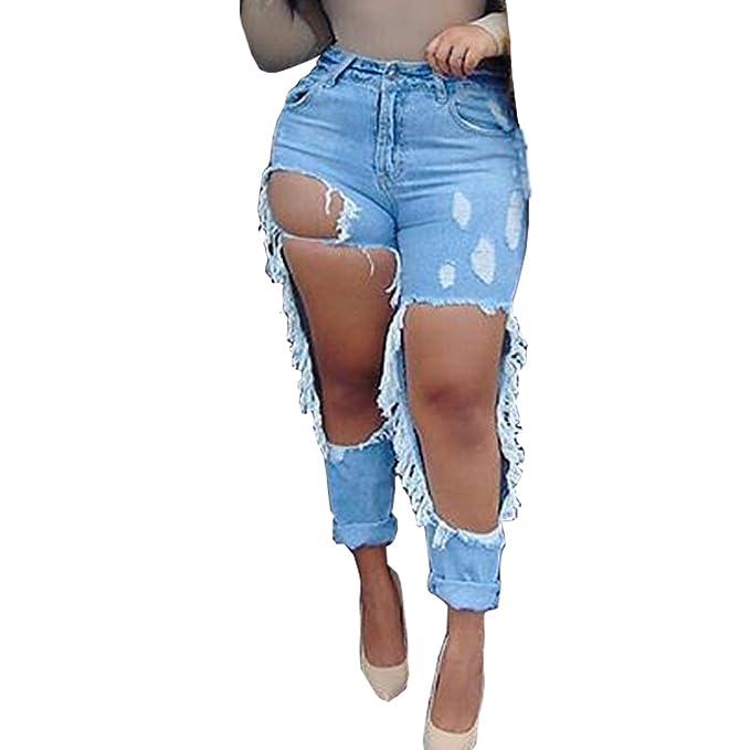 Amazon.com: liyt Fashion Slim Fit de la mujer rodilla Ripped ...