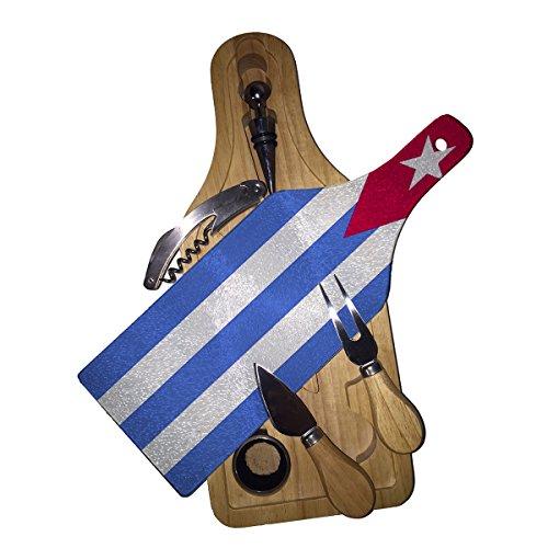 Cuba Flag - Wine Bottle Shaped Glass Cutting Board 6 Piece Wine & Cheese Gift Box Set