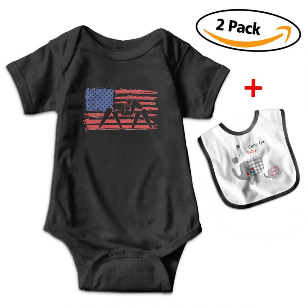 Leopoldson American Flag Wrestling Infant Short Sleeve Bodysuits One-Piece with Baby Bib by Leopoldson