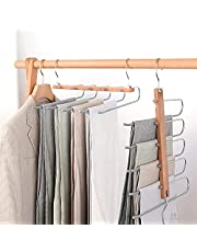 Pant Hangers Space Saver, KYOEON Multifunctional Adjustable 5 in 1 Multi-Layer Pant Rack, Wooden&Stainless Steel Non-Slip Folding Pants Hangers for Home Storage Organizer Trousers Scarf Tie Belt