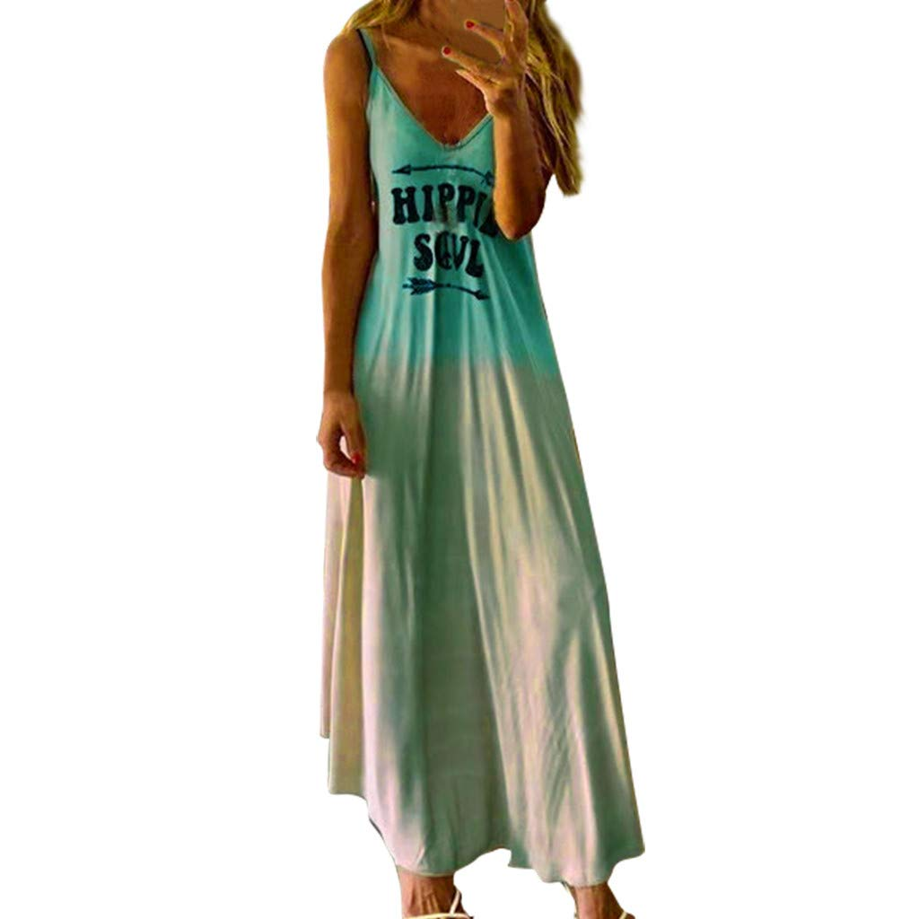 Staron Womens Summer Casual Loose Dress Plus Size Letter Printed Beach Cover Up Long Cami Maxi Dresses