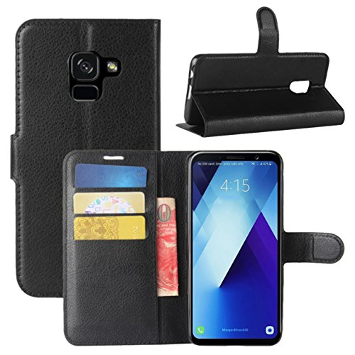 Galaxy A8 Plus 2018 Case, Fettion Premium PU Leather Wallet Flip Phone Protective Case Cover with Card Slots for Samsung Galaxy A8+ (2018) / A8 Plus 2018 Smartphone (Wallet - Black)