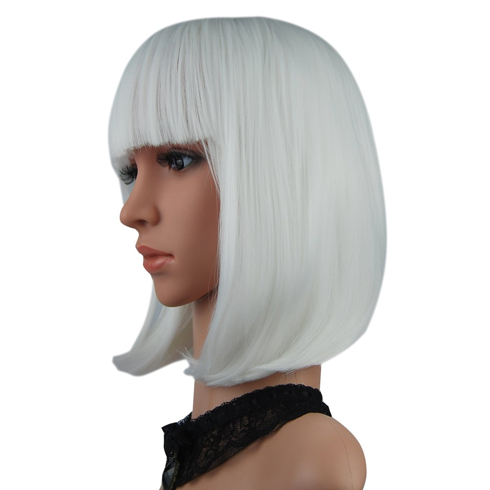 Hot Pink eNilecor Short Bob Hair Wigs 12 Straight with Flat Bangs Synthetic Colorful Cosplay Daily Party Wig for Women Natural As Real Hair Free Wig Cap